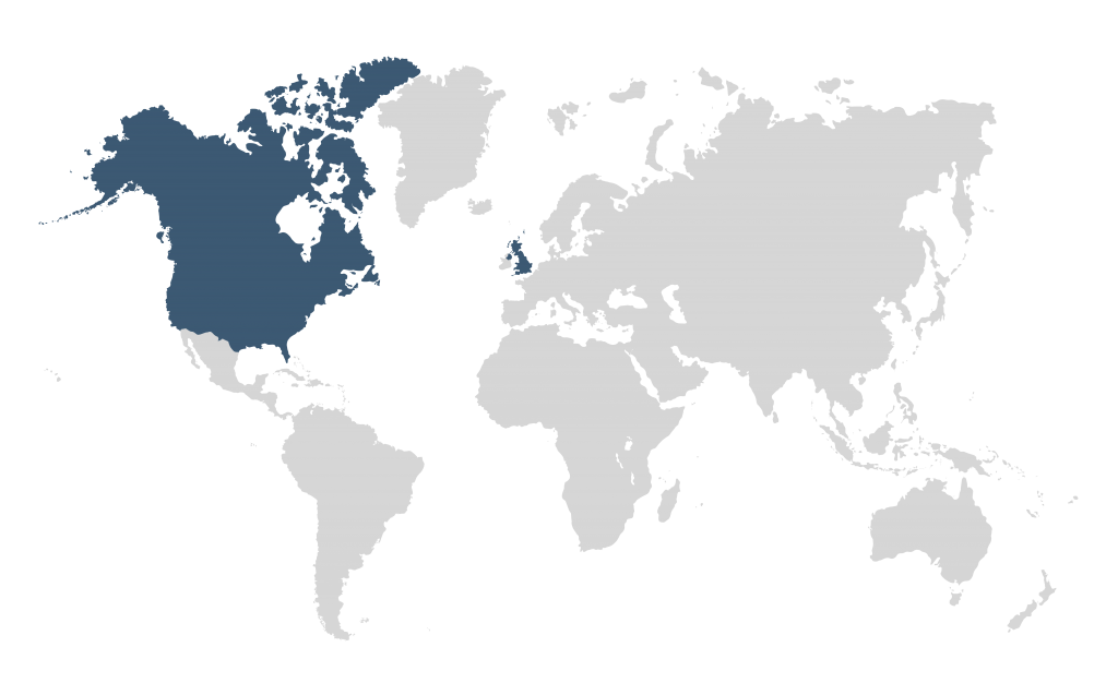 World Map with USA, UK & Canada Highlighted